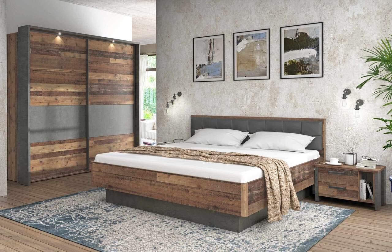 Schlafzimmer Set CLIF Binou 21, Optik Old Wood Vintage von Forte