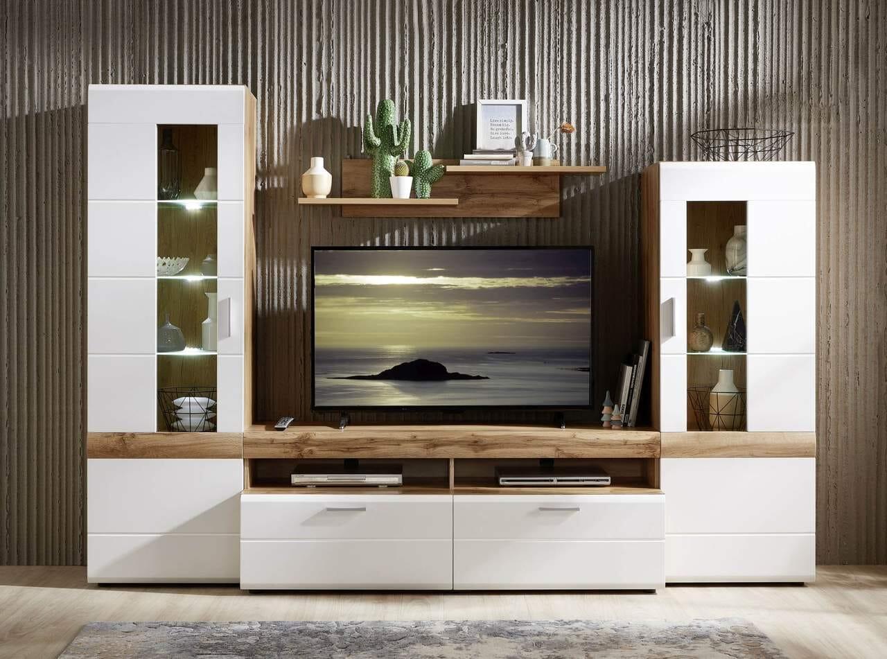 Wohnwand LE MANS Weiß mit Eiche Altholz Nachbildung 21 cm